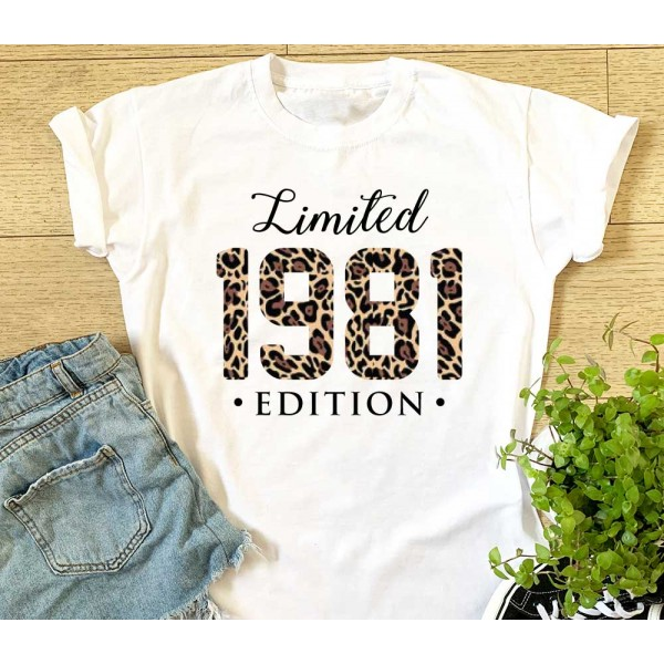 Limited Edition 1981 Leopard Print T-shirt - Birthday Mum Sister Aunt Gift For Her   Garment Printing